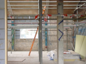 Main hall from doorway scaffolding